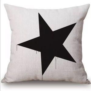 Black Dripping Star Pillow Cover Unique
